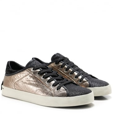 Leather Glitter Low Top Trainers