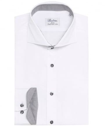 Slimline Houndstooth Trim Shirt