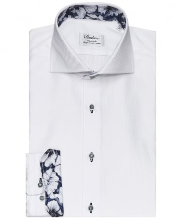 Fitted Body Textured Floral Trim Shirt