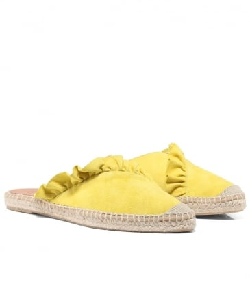 Dyna Leather Ruffle Espadrilles