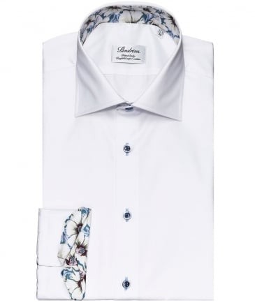 Fitted Body Floral Trim Shirt