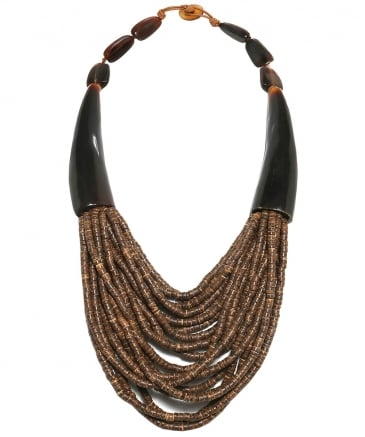 Double Horn Beaded Necklace