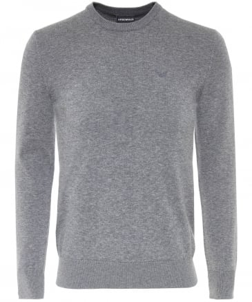Knitted Cotton Crew Neck Jumper