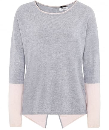 Cashmere Two Tone Zip Back Jumper
