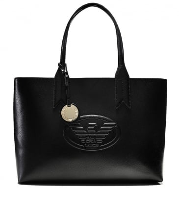 Faux Leather Logo Tote Bag