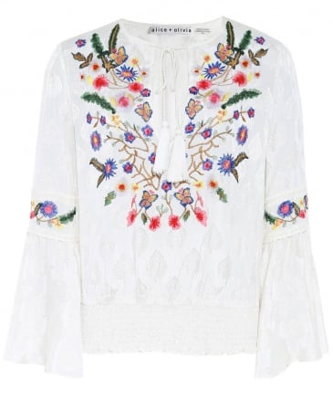 Kindra Embroidered Bell Sleeve Top