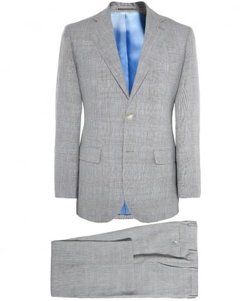 Slim Fit Linen Prince of Wales Check Suit