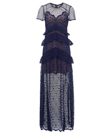 Circular Lace Panelled Maxi Dress