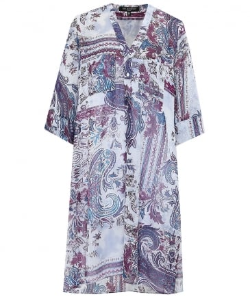 Chiffon Paisley Shirt Dress
