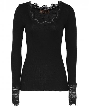 Silk Long Sleeve Lace Top