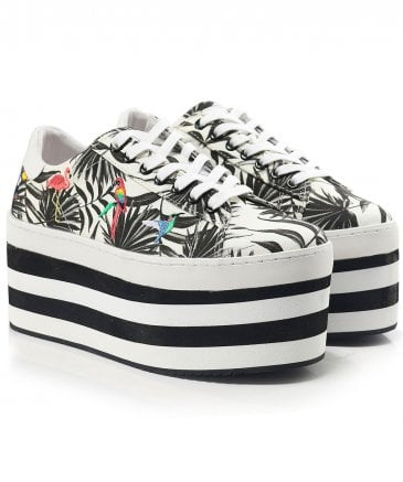Platform Canvas Leaf Print Trainers