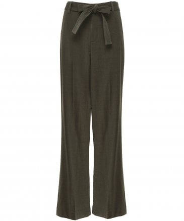 Wool Belted Wide Leg Trousers