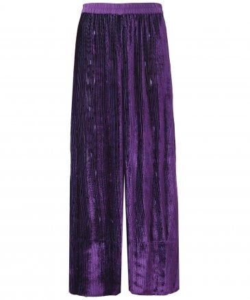 Velvet Plissé Wide Leg Trousers