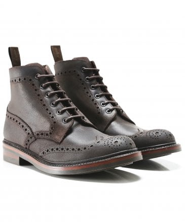Waxed Leather Bedale Brogue Boots