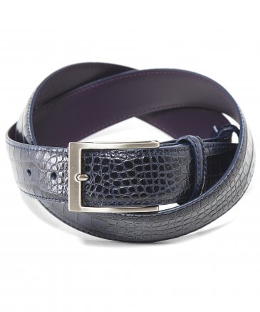 Leather Mock Croc Belt