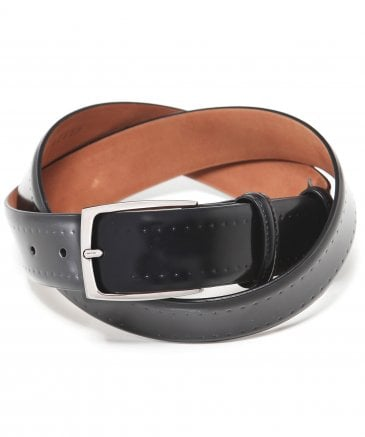 Leather Brogue Trim Belt