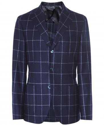 Wool Windowpane Check Blazer