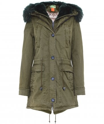 Saphir Luxe Long Fur Trim Parka