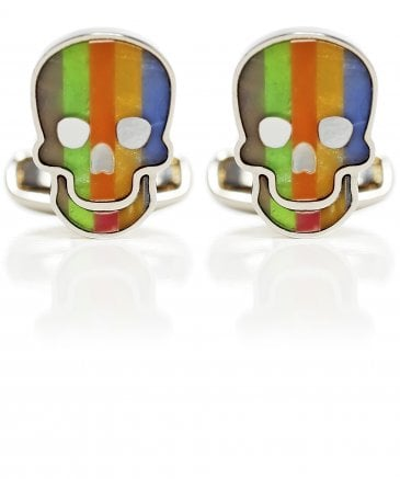 Striped Skull Mother-of-Pearl Cufflinks
