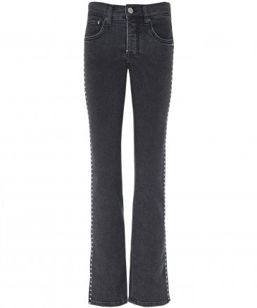 Slim Kick Flare Jewel Trim Jeans