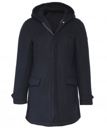 Wool Blend Hooded Trench Coat