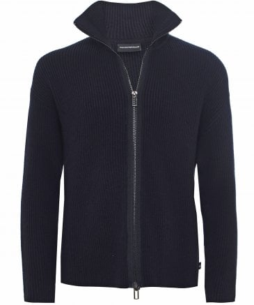 Wool Blend Zip-Through Cardigan