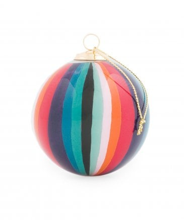 Hand Painted Artist Stripe Glass Bauble