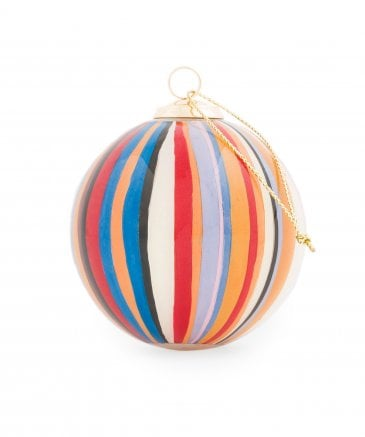 Hand Painted Signature Stripe Glass Bauble