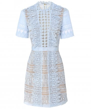 Spiral Panel Lace Mini Dress