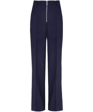 Virgin Wool Blend Front Zip Trousers