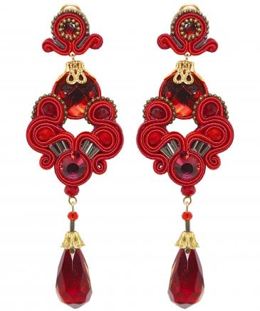Candela de Reina Women's Coral Jewel Drop Earrings
