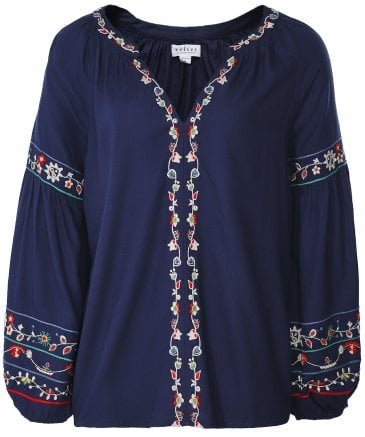 Carina Embroidered Peasant Top