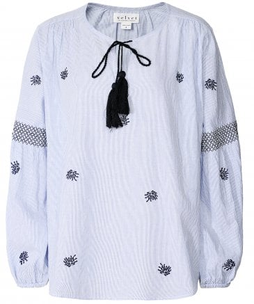 Aimee Embroidered Tassel Tie Peasant Top