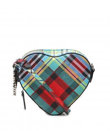 Leather Shuka Tartan Cross Body Heart Bag
