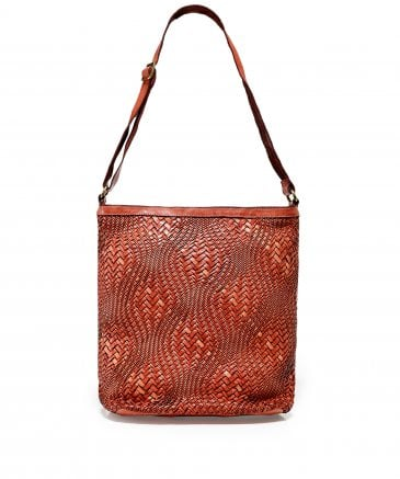 Large Leather Woven Shopper Bag