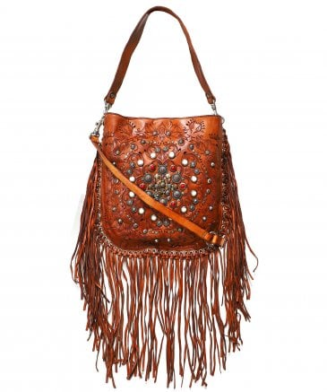 Leather Fringe Hobo Bag with Siena Studs