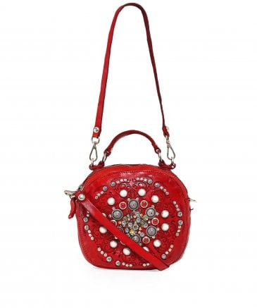 Leather Studded Bowling Bag
