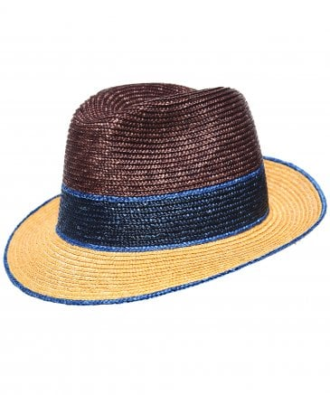 Hackett Men's Colour Block Straw Trilby Hat