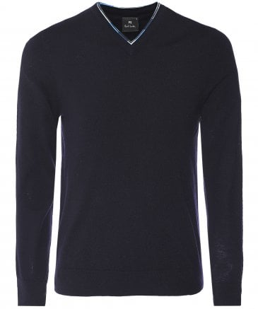 PS by Paul Smith Men's Merino Wool Contrast Trim V-Neck Jumper