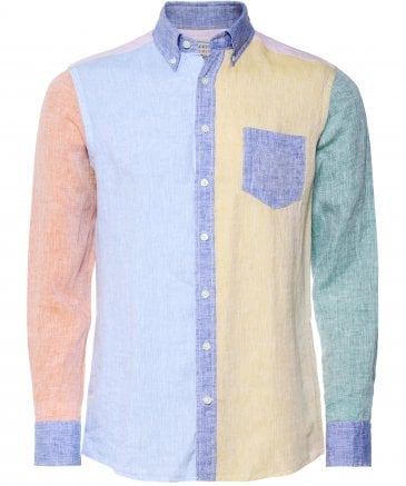 Slim Fit Linen Panel Shirt