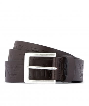 Leather Logo Tongue Belt