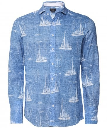 Slim Fit Linen Blend Sail Boat Shirt