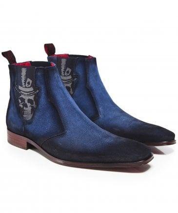 Suede Scarface Skull Chelsea Boots