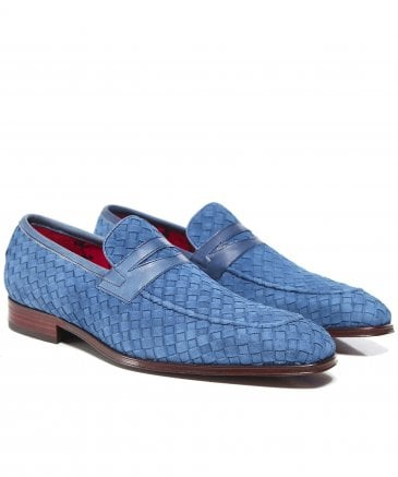 Woven Suede Soprano Penny Loafers