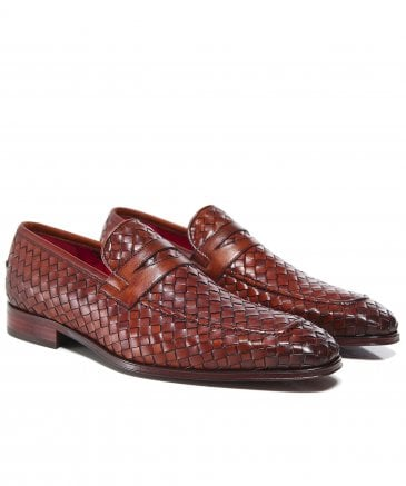 Woven Leather Soprano Penny Loafers
