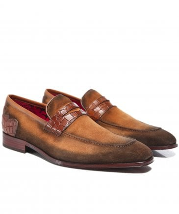 Burnished Suede Soprano Penny Loafers