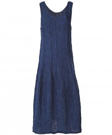 Linen and Silk Blend Sleeveless Crinkled Dress