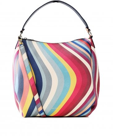 Leather Swirl Print Hobo Bag