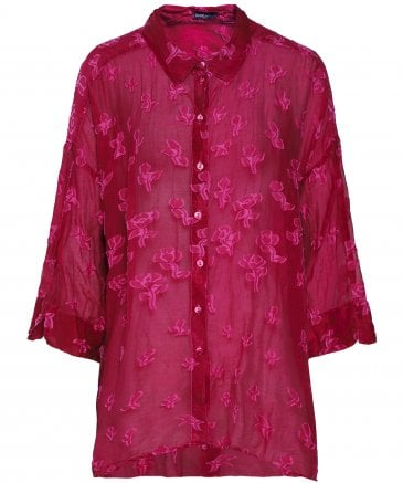 Silk Blend Sheer Floral Pattern Shirt