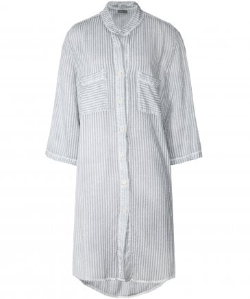 Silk Blend Stripe Long Shirt